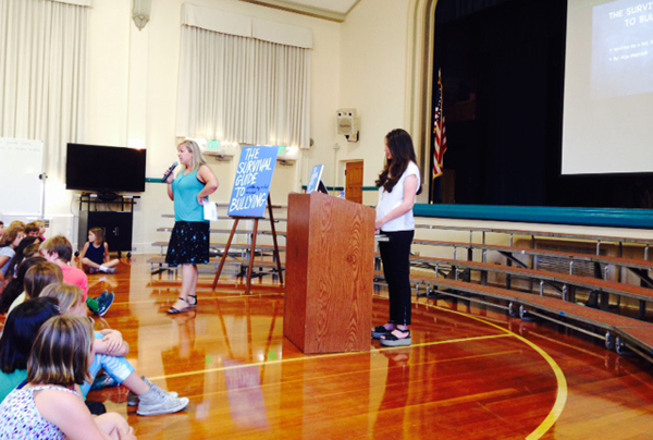 Aija Mayrock speaking to middle-schoolers at Montecito Union School in Santa Barbara, Calif.